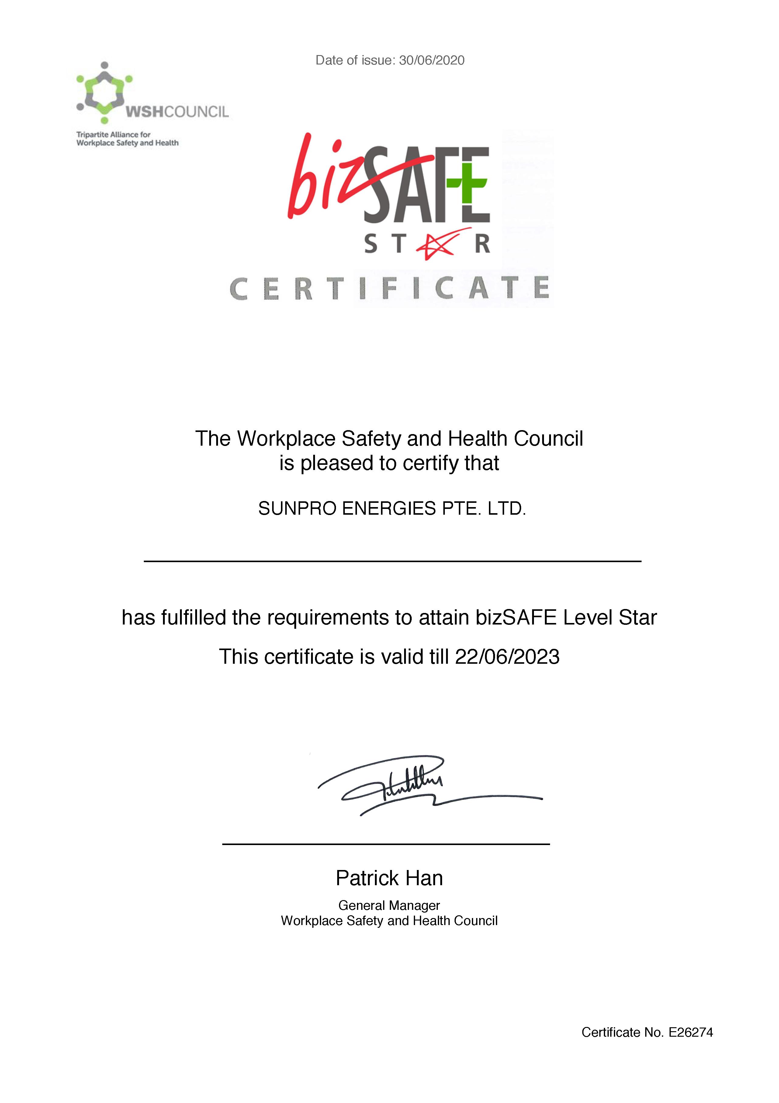 Bizsafe Certification - SunPro Energies